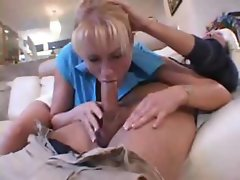 Busty blonde MILF takes out his cock and gives him hot head