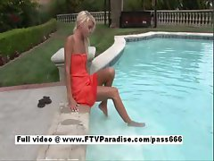 Kori mesmerising blonde girl in a pool outside