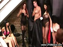 Magician babes pulling off hard tricks for audience