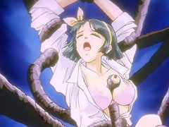 Cute anime schoolgirl trapped by a tentacle monster