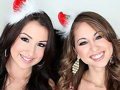 Two Christmas Cuties Share A Big Cock And Get A Facial