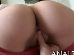 Cutie brunette girlfriend anal try out and facial cumshot