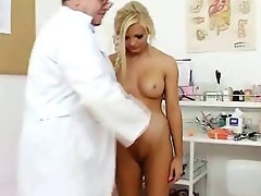 Gorgeous blonde Jenna Lovely pussy exam up close