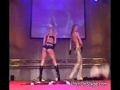 Lesbian strippers dildoing wet pussy on the stage hard