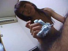 Japanese Cutie nylon panty handjob