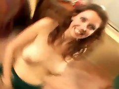 Brunette swallows a load