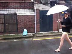 Korean girl in mid 20s (long legs in shorts) sees my cock