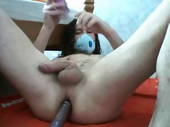 cute longhaired twink dildo jerk off