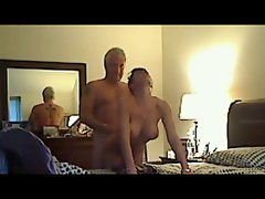 Dude fucking slutty wife on hidden cam