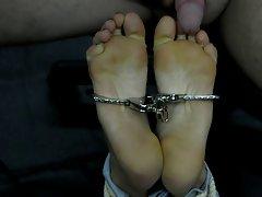 Footjob bondage girl