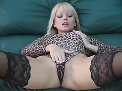 Gorgeous blonde lady teasing JOI