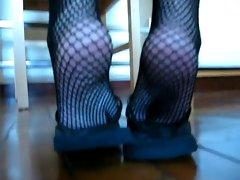 fishnet flip flop tease
