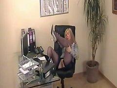Secretary Natasha In Business Suit And Blue Silk Stockings
