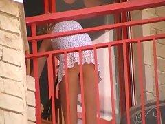 Women cleaning balcony no panties upskirt 2