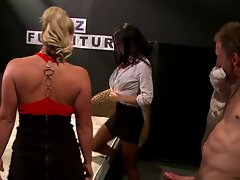 Three MILF pornstars fuck one dick in the office