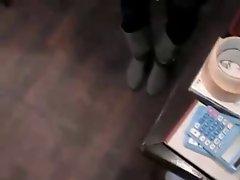Busty waitress public gropping