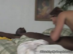 Tattooed white daughter gets creampie in front of dad