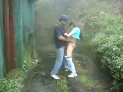 Young couple having fun outdoor