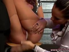 Slutty lezdom fetish mistress dominates babe
