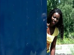 Ebony slut enjoys two dicks and in their