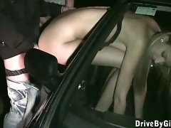 Beauty queen in public gangbang in a car