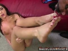 Pretty pedi rubs down cock