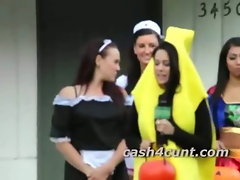 Trick or treat sluts give handjob in public after being offered cash