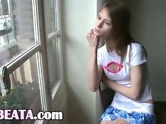 Beata babysitter awaiting her boyfriend