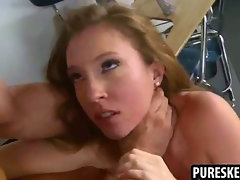 Petite schoolgirl honey sucking and fucking