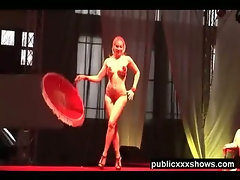 Busty blonde dancer tease