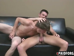 Straight stud sucking and jerking a cock for money