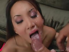 Saucy Katsumi gets her mouth filled with warm cum