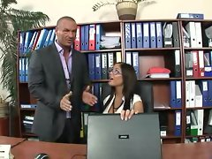 Hot secretary Angelica Heart has fuck fun in the office