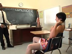 Scantily clad Lola Foxx complains about a grade so teacher teaches a lesson