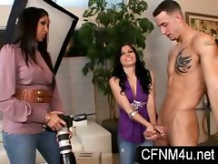 Femdom CFNM play with 2 ladies