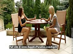 Zara and Candie stunning lesbian babes teasing