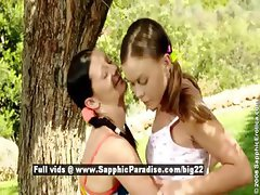 Mischelle and Mya stunning lesbian girls teasing