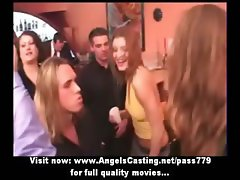 Amateur party in striptease bar with dancer babes touched by clients