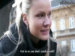 Stunning euro blonde bombshell fucked in the parking lot of someones car