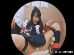 Tied up asian student gets body teased