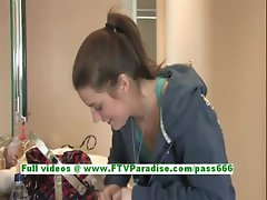 Hayley cute brunette young girl make up and having fun
