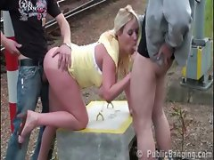 Hot girl with big boobs in public sex threesome at a railway Part 2