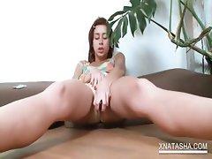 Teen horny cutie dildo fucks her cunt