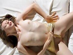 Super skinny girl undress her snatch