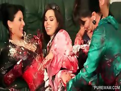 WAM lesbo hoes playing with messy cream