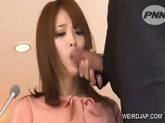 Asian TV anchor gives BJ during the news
