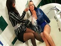 Brunette lesbos get messy in the shower
