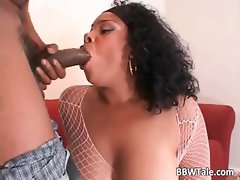 Horny chubby ebony slut takes big black