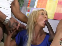 Aged Erica Lauren screwed by 2 ebony monster dicks