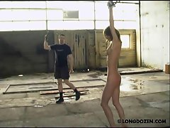 Handcuffed Amy was bullwhipped and rough breast punished